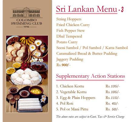 Sri Lankan Food List